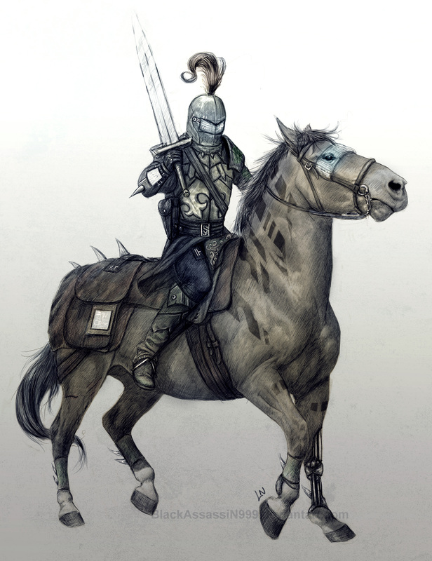 Knight on horse painting
